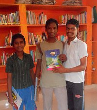 Children at Kaliyampoondi library