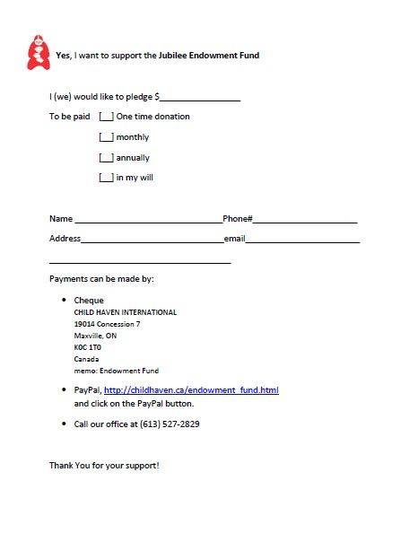 Endowment Fund pledge form